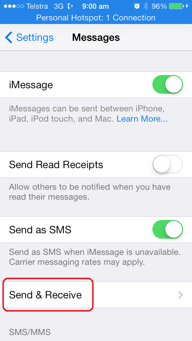 iphone text messages sending from email address